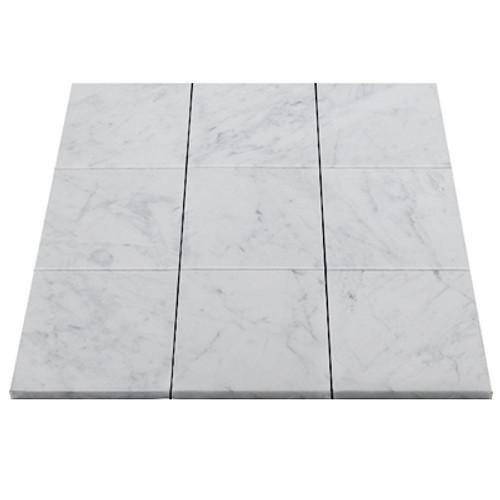Italian White Carrera Marble Bianco Carrara 4x4 Marble Tile Honed