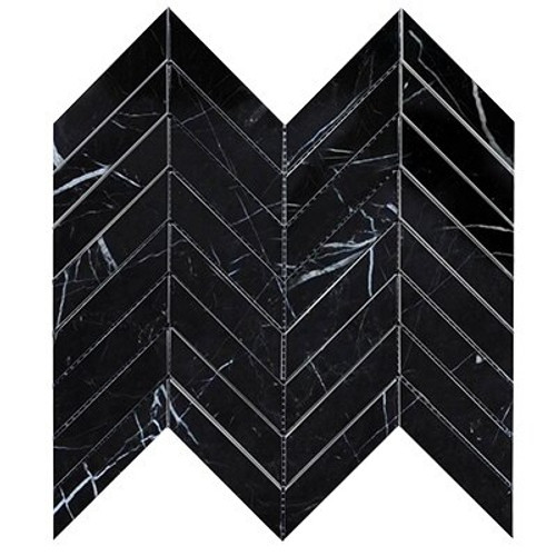 Nero Marquina Black Marble  1x4 Chevron Mosaic Tile Polished