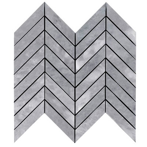 "Premium Bardiglio Gray Marble 1"" x 4"" Chevron Mosaic Tile Honed"