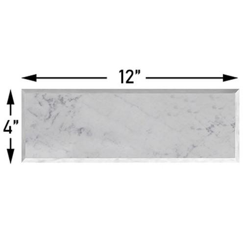 4x12 Carrara Marble Wide Beveled Subway Tile Polished