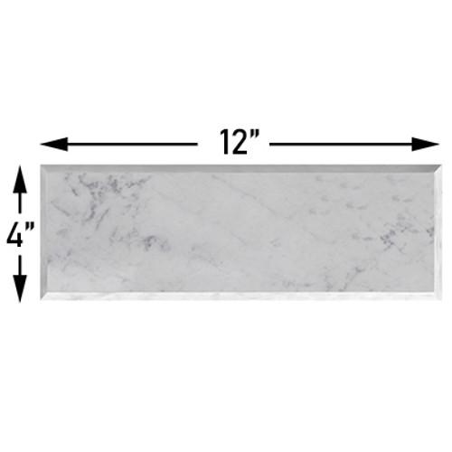 Carrara Marble Italian White 4x12 Wide Beveled Subway Tile Polished