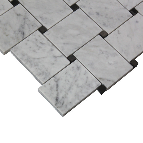 Bianco Carrara Basketweave Mosaic Tile with  Black Dots Honed