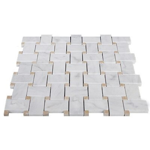 White Bianco Carrara Basketweave Mosaic Tile with Crema Marfil Honed