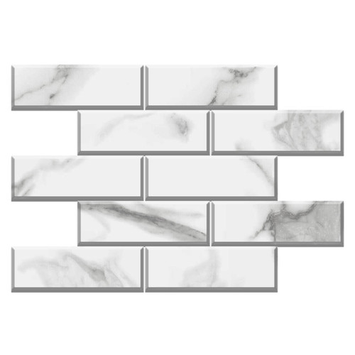 Calacatta Gold Italian Marble 4x12 Wide Bevel Subway Tile Honed