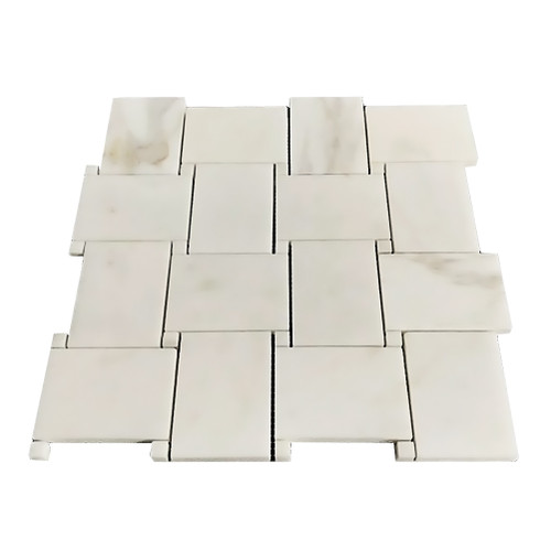 Calacatta Gold Italian Marble Large Basketweave Mosaic Tile with Calacatta Oro Dots Polished