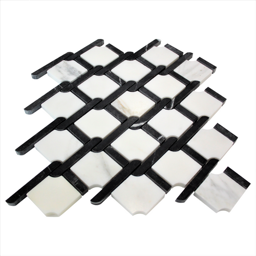 Calacatta Marble Rope Design with Black Strips Honed