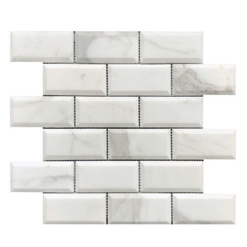 Calacatta Gold Marble 2x4 Wide Bevel Mosaic Tile Honed