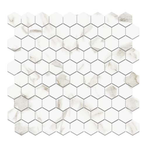 "Calacatta Gold Italian Marble 1"" Hexagon Mosaic Tile Polished"