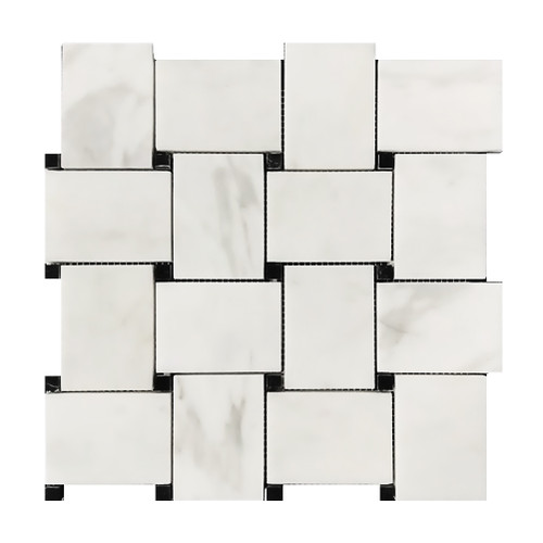 Calacatta Gold Italian Marble Large Basketweave Mosaic Tile with Nero Black Dots Honed