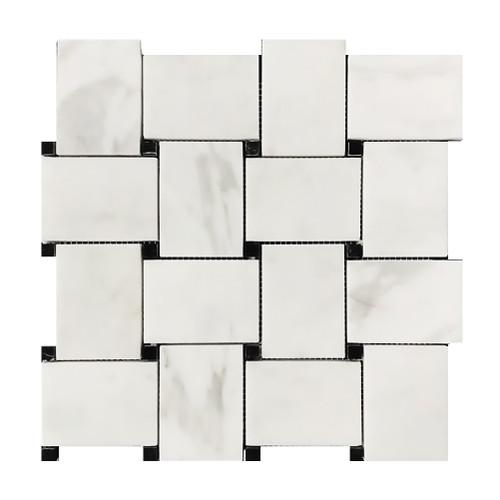 Calacatta Gold Italian Marble Large Basketweave Mosaic Tile with Nero Black Dots Polished