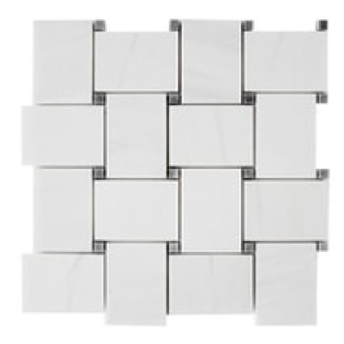 Dolomiti White Marble Bianco Dolomite Large Basketweave Mosaic Tile with Bardiglio Gray Dots Polished