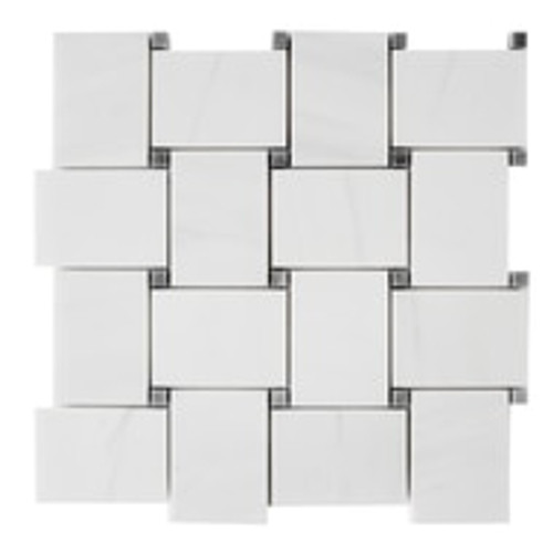 Dolomiti White Marble Bianco Dolomite Large Basketweave Mosaic Tile with Bardiglio Gray Dots Polished
