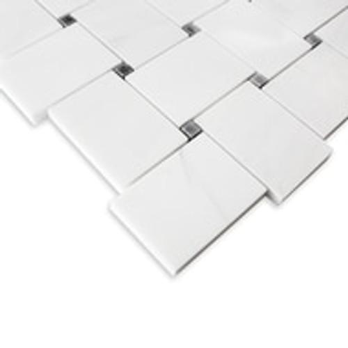 Dolomiti White Marble Italian Bianco Dolomite Large Basketweave Mosaic Tile with Gray Dots Polished