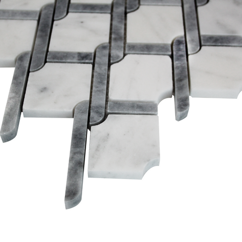 Bianco Carrera Rope Design Mosaic Tile Polished