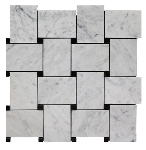 Carrera Marble Bianco Carrara Basketweave Mosaic Tile with Nero Black Dots Polished