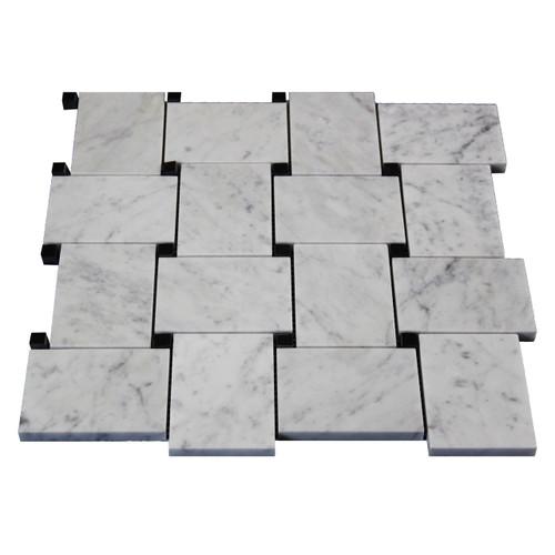 Carrara Marble Bianco Carrara Basketweave Mosaic Tile with Nero Marquina Black Dots Polished