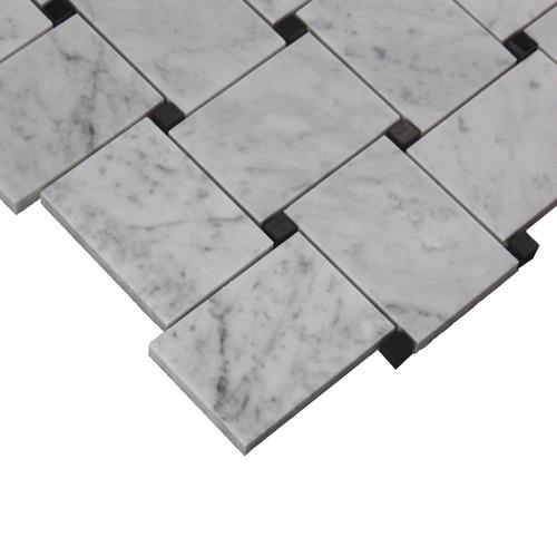 Bianco Carrara Marble Basketweave Mosaic Tile with  Black Dots Polished