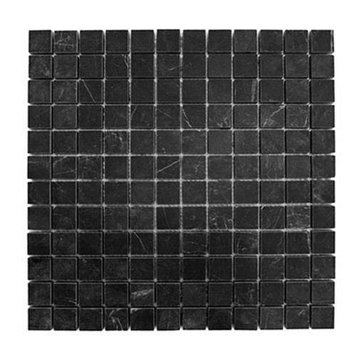 1x1 Nero Marquina Black Marble Mosaic Tile Polished