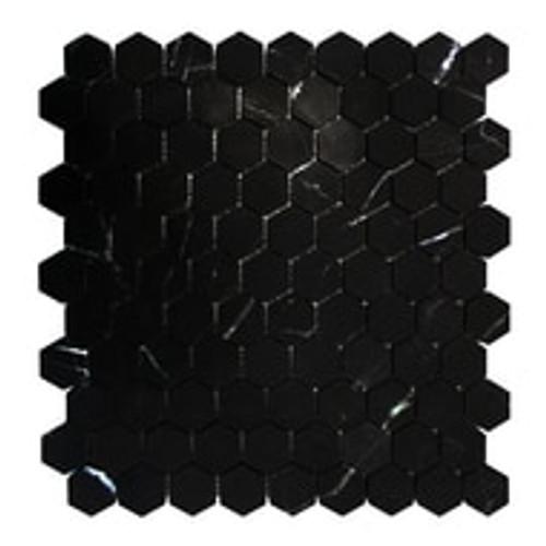 "Nero Marquina Black Hexagon 1"" Mosaic Tile Polished"