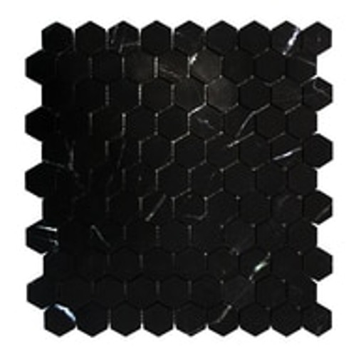 "Nero Marquina Black Hexagon 1"" Mosaic Tile Honed"