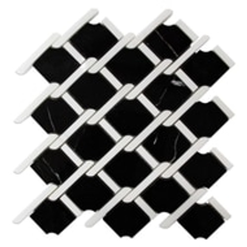 Nero Marquina Marble Marbella Lynx Rope Design with Dolomite Strips Mosaic Tile Polished