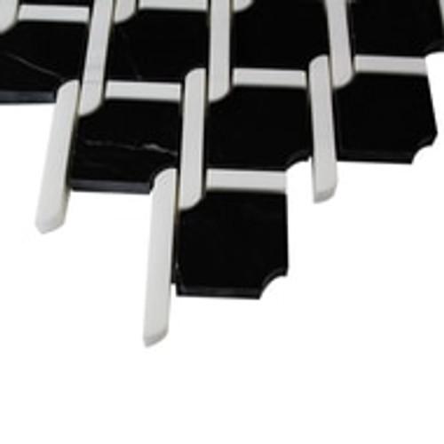 Nero Marquina Black Marble Marbella Lynx Rope Design with Bianco Dolomite White  Strips Mosaic Tile Polished