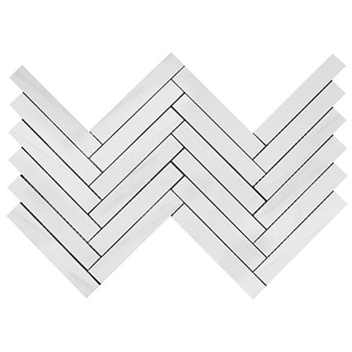 Bianco Dolomiti Marble 1x6 Herringbone Mosaic Tile Polished