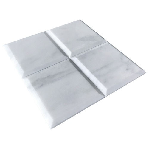 Carrara Marble 4 inch x 4 inch Wide Bevel  Tile Polished