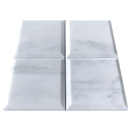 White Bianco Carrera 4 inch x 4 inch Wide Bevel  Tile Polished