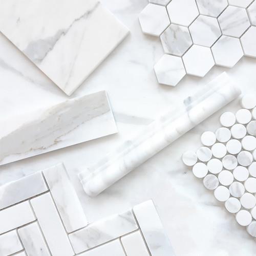 """Calacatta Gold Italian Marble 1"""" x 4"""" Herringbone Mosaic Tile Polished"""