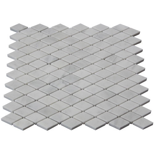 Italian White Carrera Marble Bianco Carrara Diamond Mosaic Tile Honed