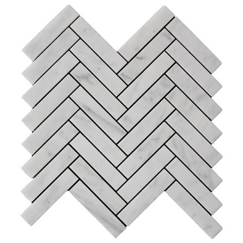 Carrara White Italian Marble 1��������������������������� x 4��������������������������� Herringbone Mosaic Tile Honed