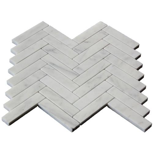 Carrara White Italian Marble 1x4 Herringbone Mosaic Tile Polished