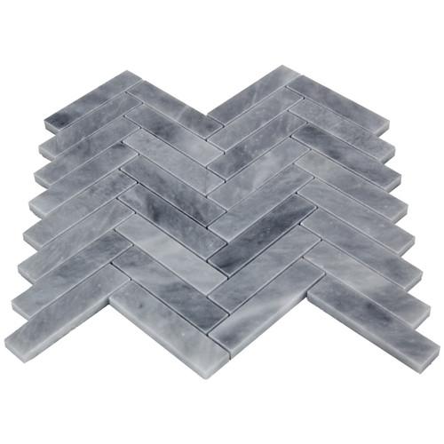 "Bardiglio Gray Marble 1"" x 4"" Herringbone Mosaic Tile Polished"