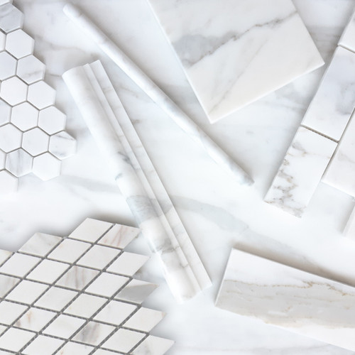 Calacatta Gold Italian Marble Diamond Mosaic Tile Polished