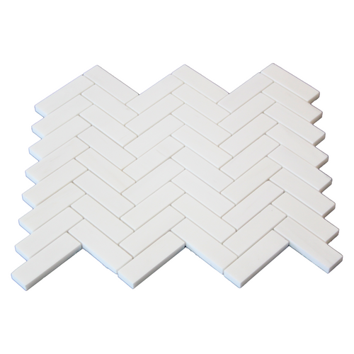 "Dolomiti White Marble Italian Bianco Dolomite 1"" x 3"" Herringbone Mosaic Tile Honed"