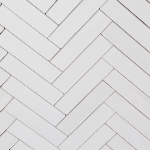 Bianco Dolomite Marble 1x4 Herringbone Mosaic Tile Honed
