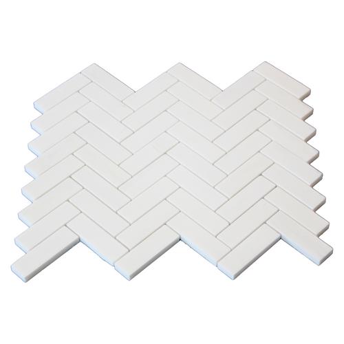 """Dolomiti White Marble Italian Bianco Dolomite 1"""" x 3"""" Herringbone Mosaic Tile Polished"""