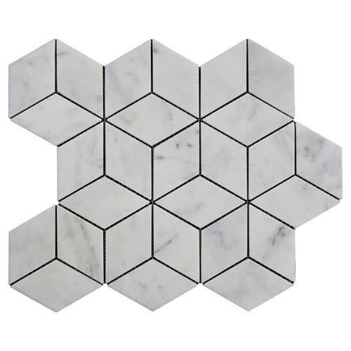 Italian White Carrera Marble Bianco Carrara Rhombus 3D Diamond Mosaic Tile Polished