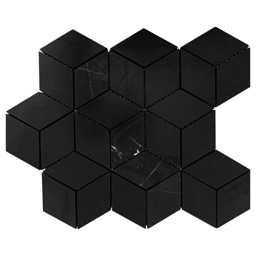 Nero Marquina Black Marble Rhombus 3D Cube Diamond Mosaic Tile Polished
