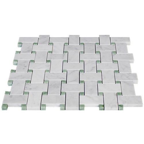 Italian White Carrera Marble Bianco Carrara Basketweave Mosaic Tile with Green Dots Honed