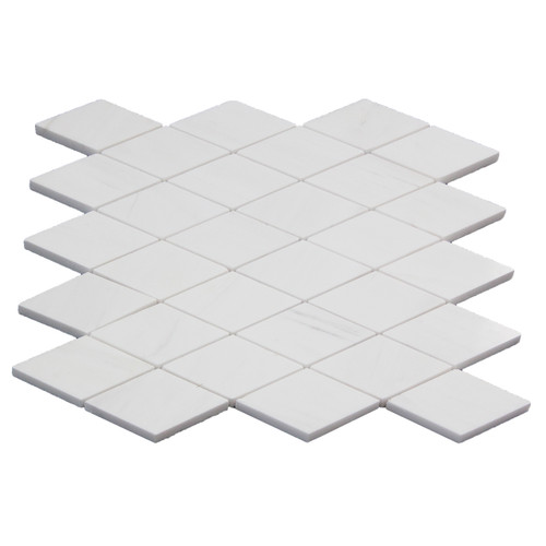 Bianco Dolomite Marble Large Diamond Mosaic Tile Polished