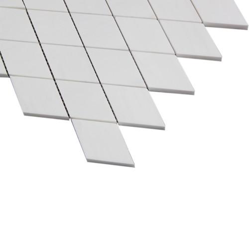 Bianco Dolomite Marble Large Diamond Mosaic Tile Polished