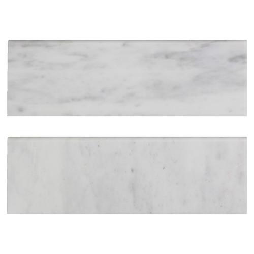 Carrara White Italian Marble 4��������������������������������������������������������������������������������������������������������������������������������������������������������������������������������������������������������������������������������������������������� x 12��������������������������������������������������������������������������������������������������������������������������������������������������������������������������������������������������������������������������������������������������� Bullnose Tile Honed