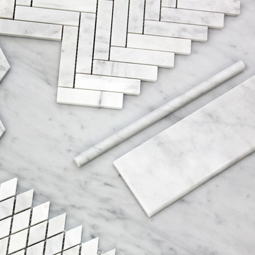 Carrara White Italian Marble 4��������������������������� x 12��������������������������� Bullnose Subway Tile Polished
