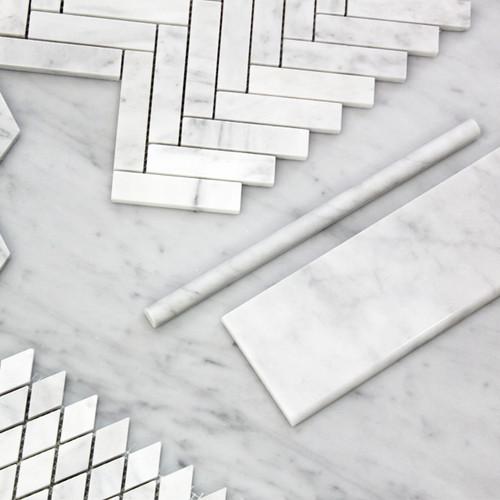 Carrara White Italian Marble 4��������������������������������������������������������������������������������������������������������������������������������������������������������������������������������������������������������������������������������������������������� x 12��������������������������������������������������������������������������������������������������������������������������������������������������������������������������������������������������������������������������������������������������� Bullnose Subway Tile Polished