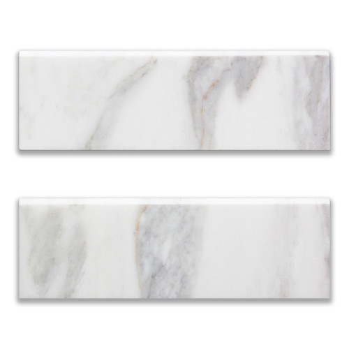 4x12 Calacatta Gold Italian Marble Bullnose Trim Tile Polished