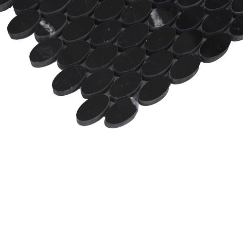 Nero Marquina Black Marble Ellipse Oval Mosaic Tile Honed