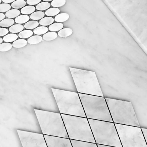 Carrara White Italian Marble Oval Ellipse Mosaic Tile Honed