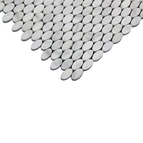 Carrara White Italian Marble Oval Ellipse Mosaic Tile Polished